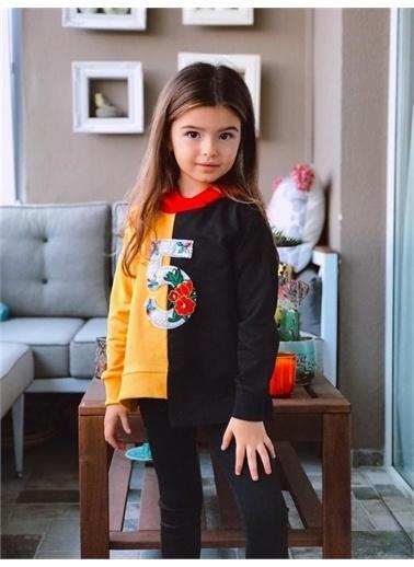 Hilal Akıncı Kids Kiz Çocuk Renklı Parçali Sweatshirt Taytli Ikılı Takim Sarı